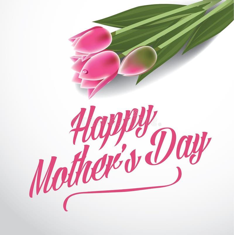 Szczęśliwi matka dnia tulipany projektują EPS 10 wektor ilustracji