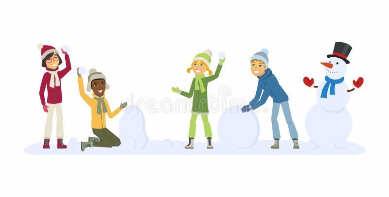 Szczęśliwi międzynarodowi dziecko sztuki kreskówki charakterów ilustracyjnych ludzie outdoors - ilustracja wektor