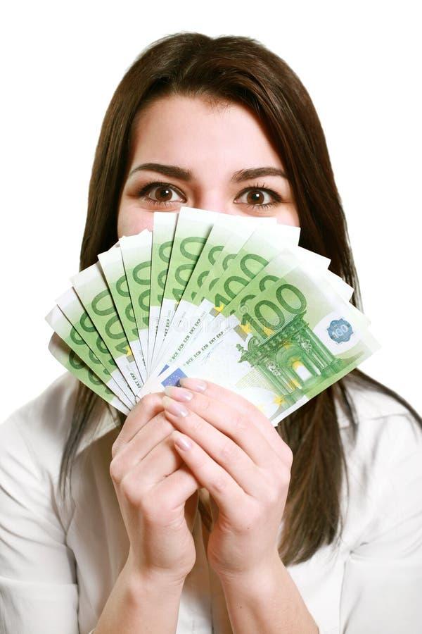szczęśliwi mienia pieniądze kobiety potomstwa obraz royalty free