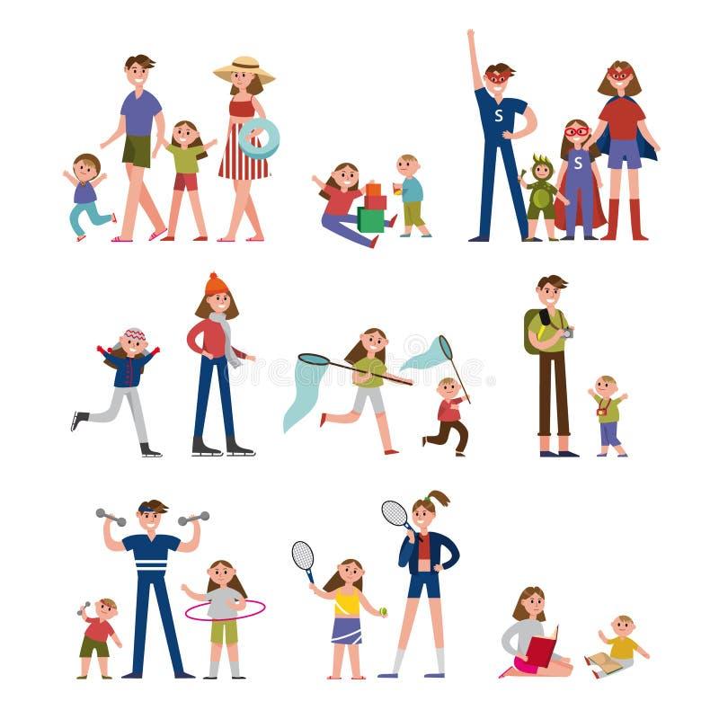 Szczęśliwi momenty w życiu rodzinnym, aktywności i czasie wolnym, Rodzina ustaleni kolorowi charaktery z rodzicami i dziećmi wekt ilustracja wektor