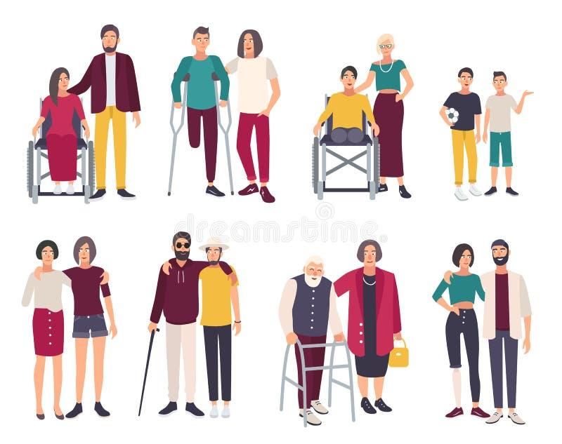 Szczęśliwi niepełnosprawni z przyjaciółmi Kreskówek płaskie ilustracje ustawiać royalty ilustracja