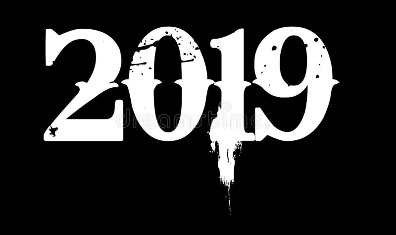 Szczęśliwi 2019 nowego roku białe liczby w czarnego tła wektorowym projekcie ilustracja wektor