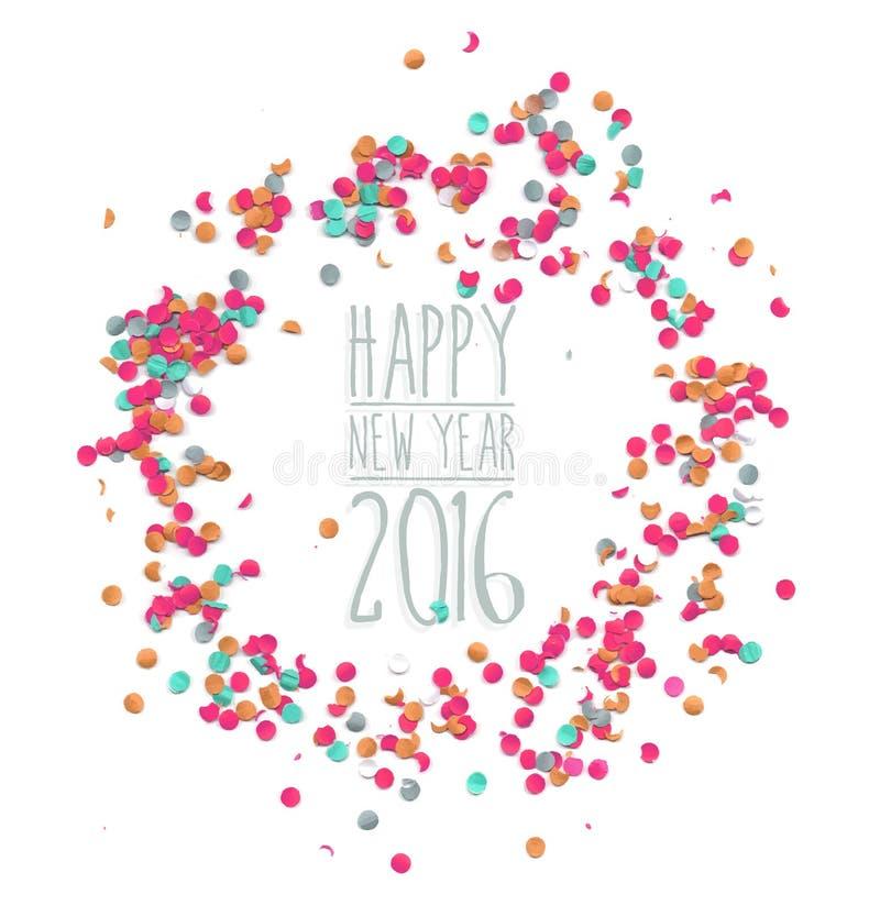 Szczęśliwi nowego roku 2016 confetti bawją się prostego szablon royalty ilustracja