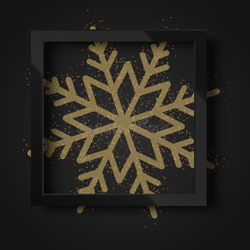 Szczęśliwi 2018 nowego roku czarny tło z czerń ramowym i złocistym śniegiem wektor ilustracja wektor