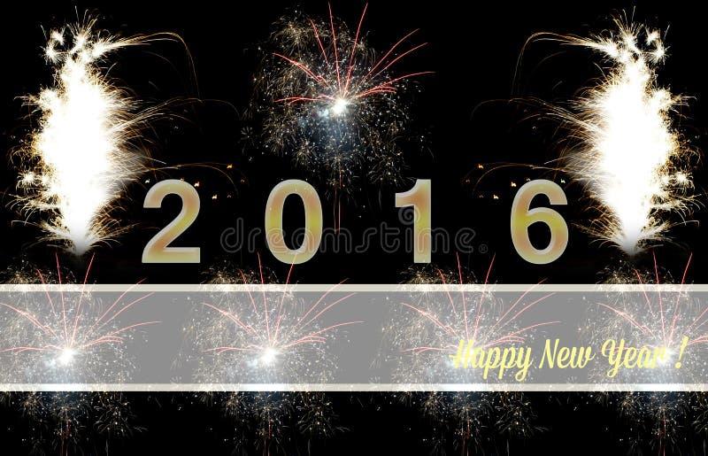 Szczęśliwi nowego roku 2016 fajerwerki royalty ilustracja
