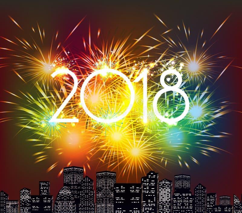 Szczęśliwi nowego roku 2018 fajerwerki kolorowi royalty ilustracja