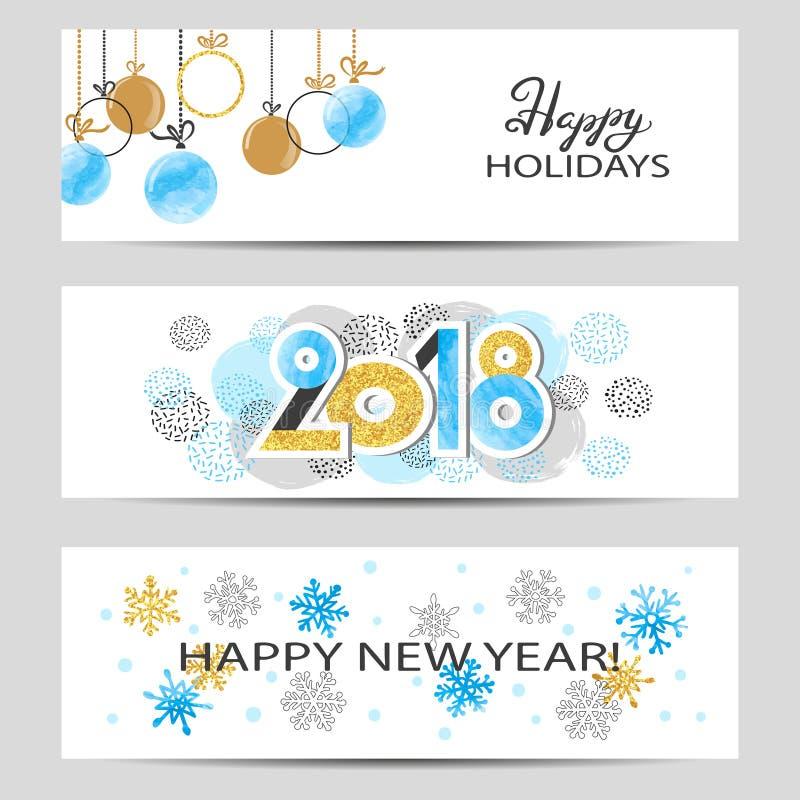 Szczęśliwi nowego roku powitania 2018 sztandary ustawiający w błękitnych, złotych i czarnych kolorach, ilustracji