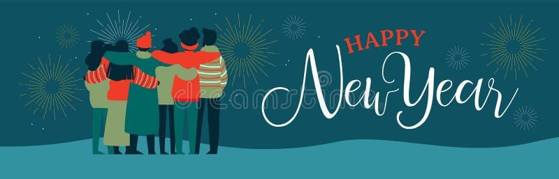 Szczęśliwi nowego roku przyjaciela sieci grupowego sztandaru ludzie royalty ilustracja