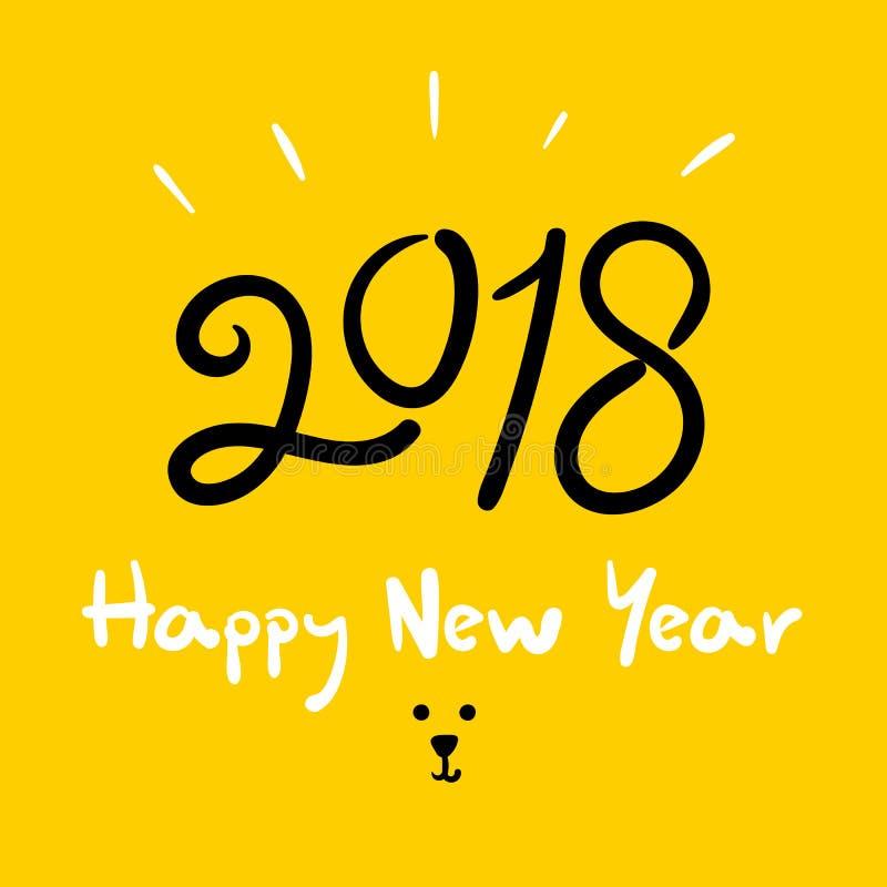 Szczęśliwi 2018 nowego roku roku doodle handwriting Psi muśnięcie royalty ilustracja