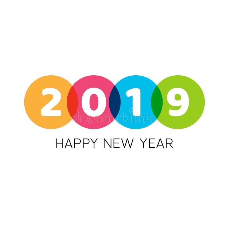 Szczęśliwi 2019 nowego roku teksta kreatywnie projekt z geometrycznymi elementami Śmiały biały tekst w kolorowych okręgach Wektor royalty ilustracja