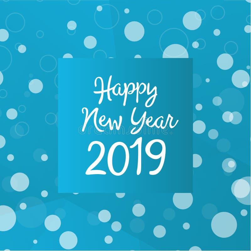 Szczęśliwi 2019 nowego roku teksta kreatywnie projekt z zima układem z płatek śniegu w błękitnych kolorach Wektorowy szablon dla  ilustracja wektor