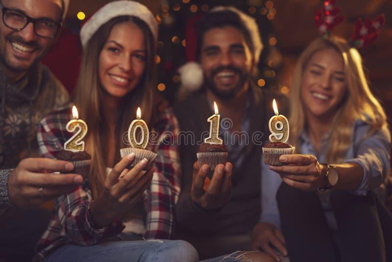 Szczęśliwi nowi 2019 rok fotografia royalty free