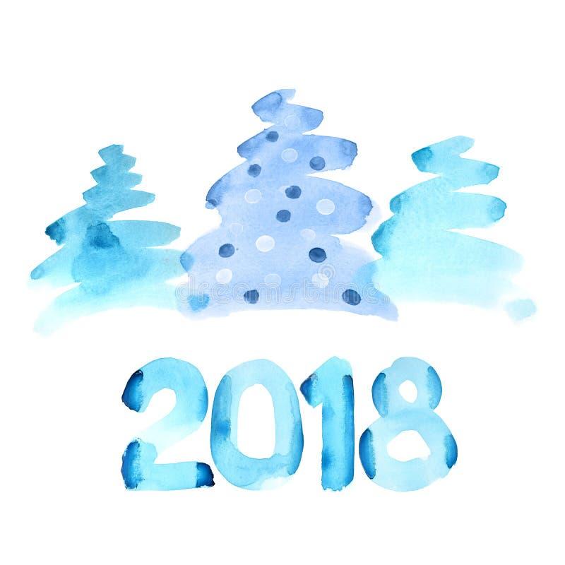Szczęśliwi Nowi 2018 rok ilustracji