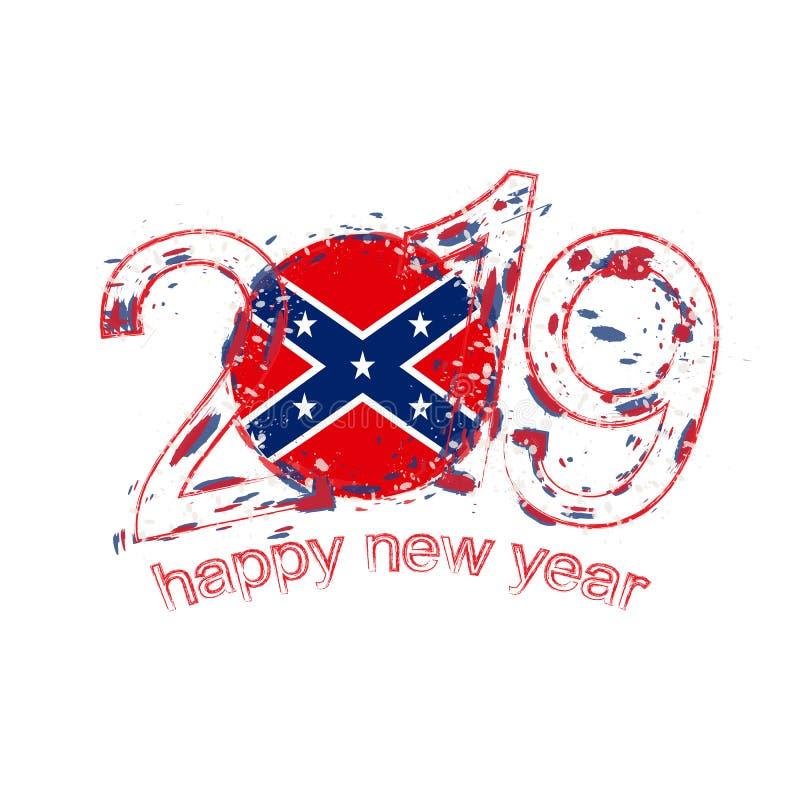 Szczęśliwi Nowi 2019 rok z flagą konfederat Wakacyjny grunge vec royalty ilustracja