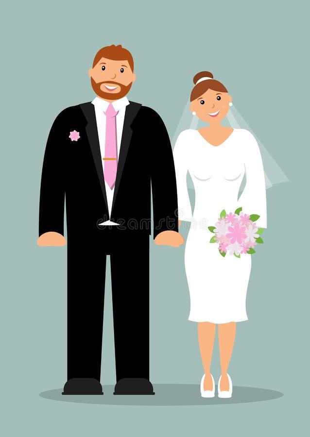 Szczęśliwi nowożeńcy: ono uśmiecha się, trzymający ręki mądrze panna młoda z ślicznym delikatnym bukietem i fornal biel i menchie ilustracji