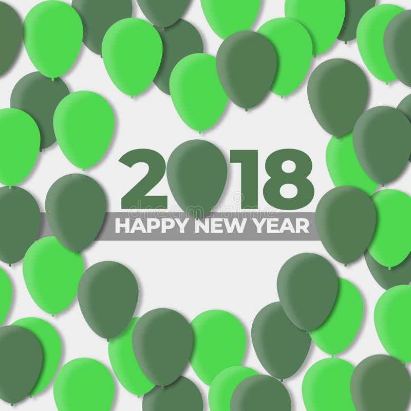 Szczęśliwi nowy rok 2018, 2017 - Balonowy projekta wakacje ilustracja wektor