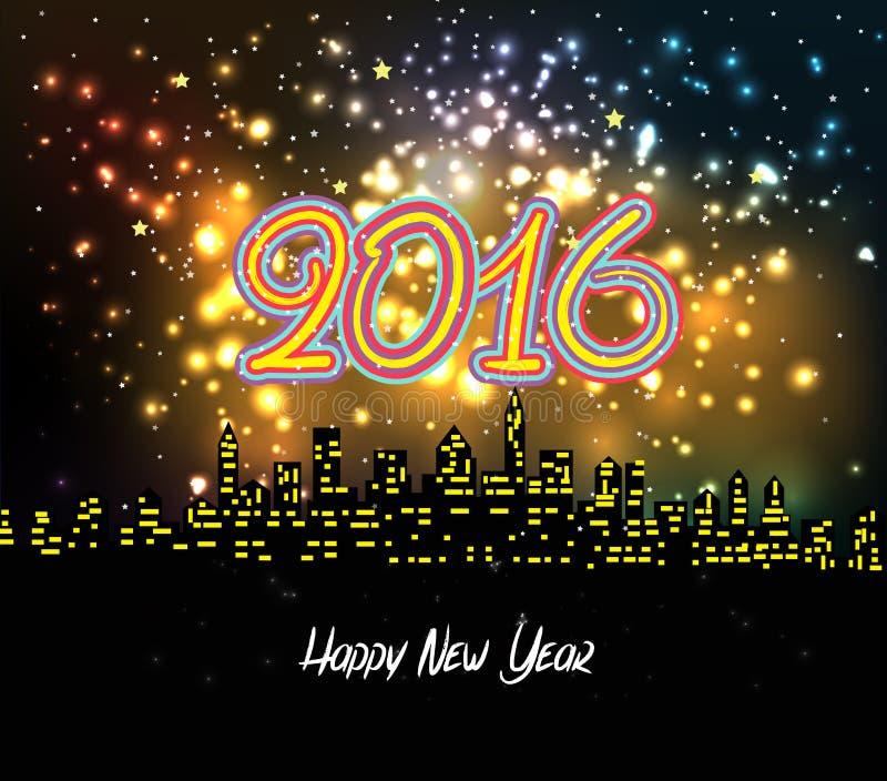 Szczęśliwi nowy rok nocy sylwetki 2016 fajerwerki colourful 301 ilustracji