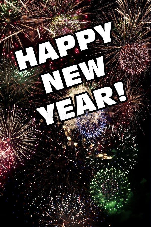 Szczęśliwi nowy rok wigilia fajerwerków Wakacyjnego pokazu ilustracji