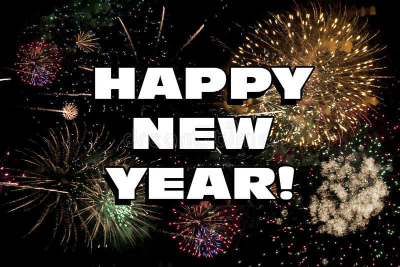Szczęśliwi nowy rok wigilia fajerwerków Wakacyjnego pokazu ilustracja wektor