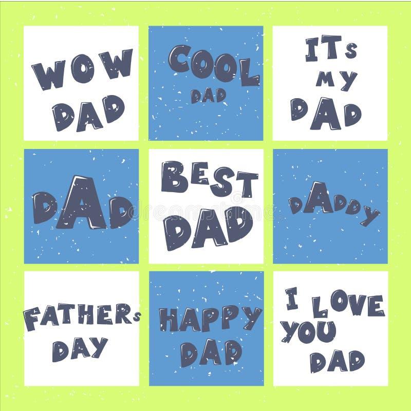 Szczęśliwi ojca s dnia literowania kaligrafii kartka z pozdrowieniami ustawiają lub druki Ilustracja dla ojca dnia zaproszeń Tata royalty ilustracja