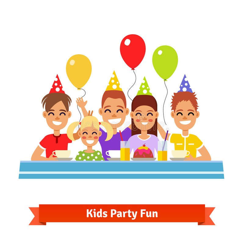 Szczęśliwi ono uśmiecha się dzieciaki ma zabawę przy przyjęciem urodzinowym ilustracji