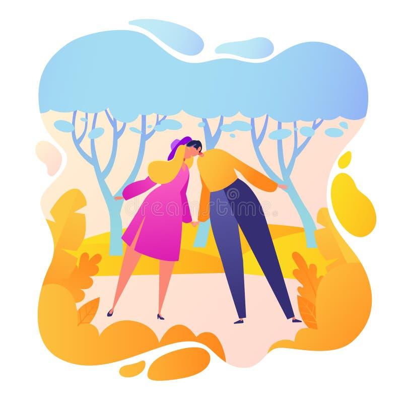 Szczęśliwi płascy ludzie charakteru buziak w parku i uścisku ilustracji