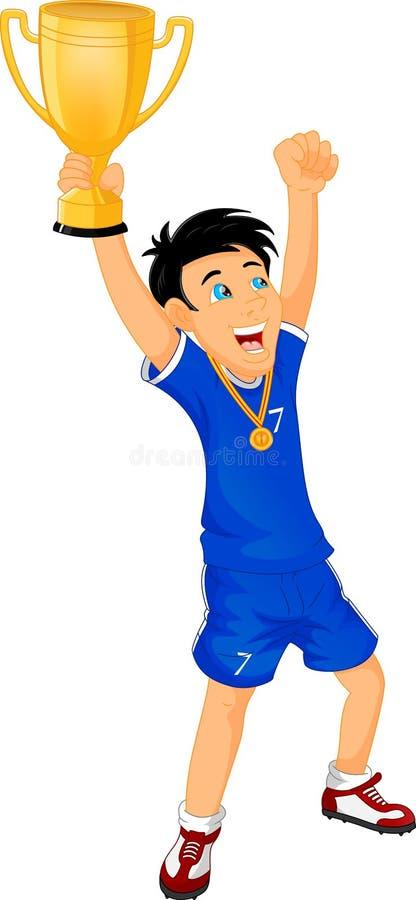 Szczęśliwi piłka nożna mistrzowie z zwycięzca filiżanką ilustracja wektor