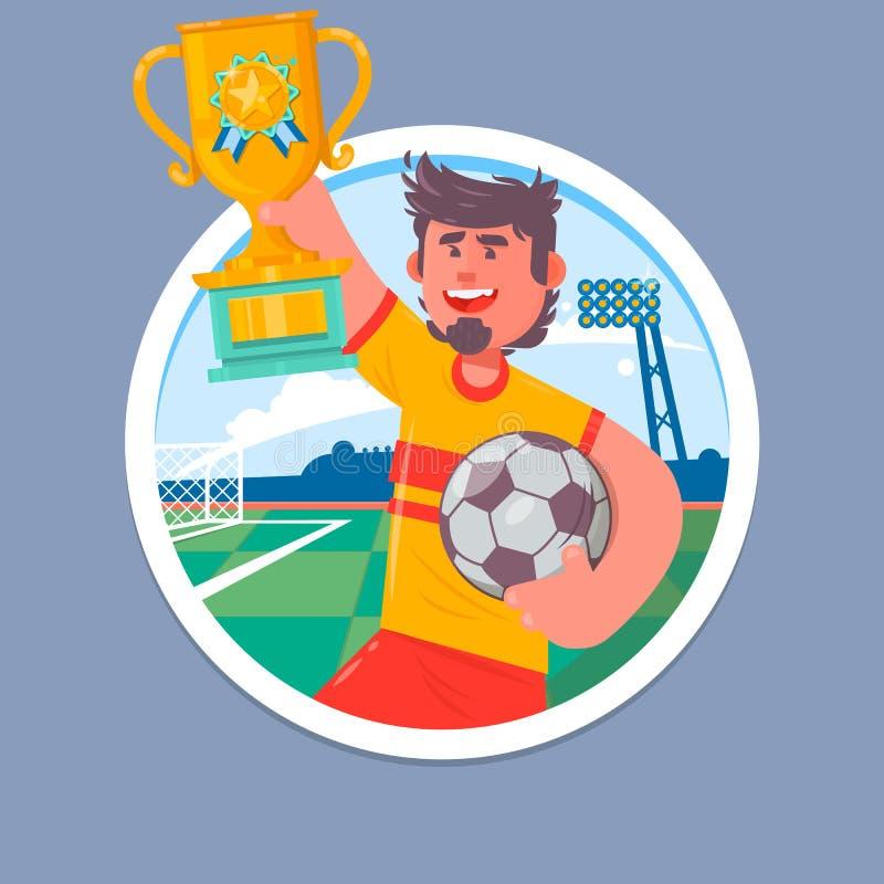 Szczęśliwi piłka nożna mistrzowie z zwycięzca filiżanką Piłki nożnej filiżanka, futbolowa mistrzostwo wektoru ilustracja ilustracja wektor