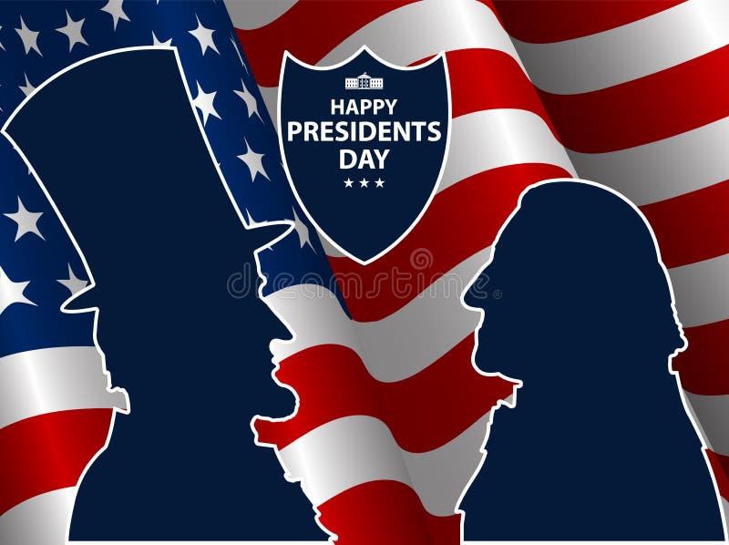 Szczęśliwi prezydenci dni w usa tle George Washington i Abraham Lincoln sylwetki z flaga jako tło royalty ilustracja
