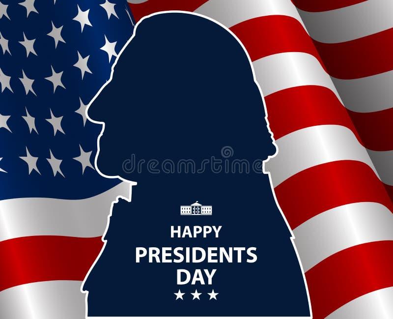 Szczęśliwi prezydenci dni w usa tle George Washington sylwetka z flaga jako backround royalty ilustracja