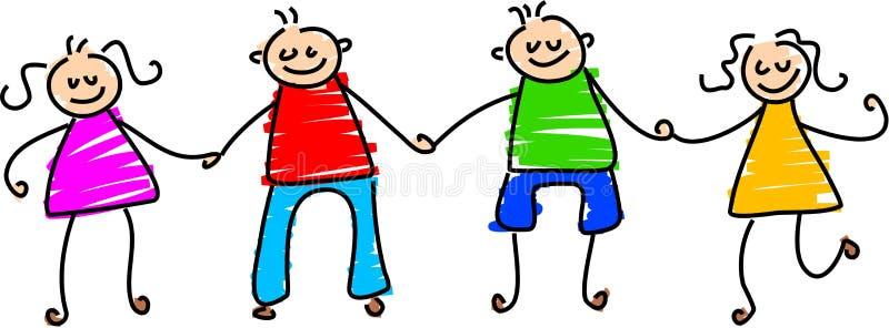 szczęśliwi przyjaciele ilustracja wektor