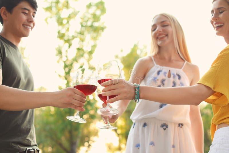 Szczęśliwi przyjaciele ma pinkin w parku na słonecznym dniu, obrazy stock