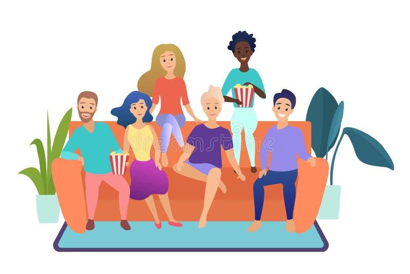Szczęśliwi przyjaciele ogląda telewizję wpólnie siedzieć na leżance w domu odizolowywali wektorową ilustrację grupa ludzi royalty ilustracja