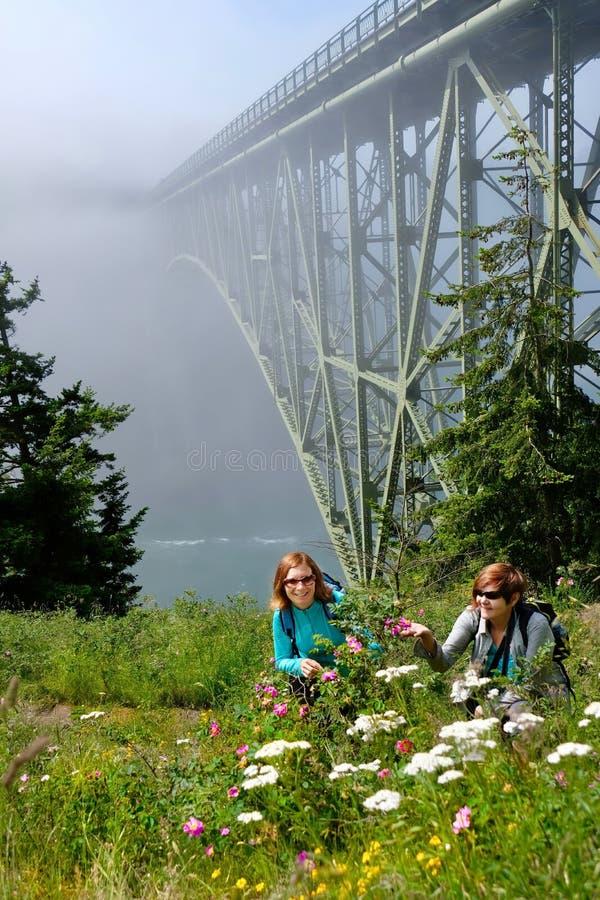 Szczęśliwi przyjaciele wycieczkuje oceanem w mgłowym ranku obrazy royalty free