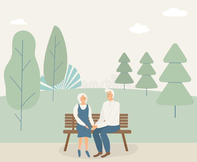 Szczęśliwi rodzinni seniory: śliczne uśmiechnięte starsze osoby mężczyzna i kobieta chwyta ręki i siedzą na ławce w parku Przecho ilustracji