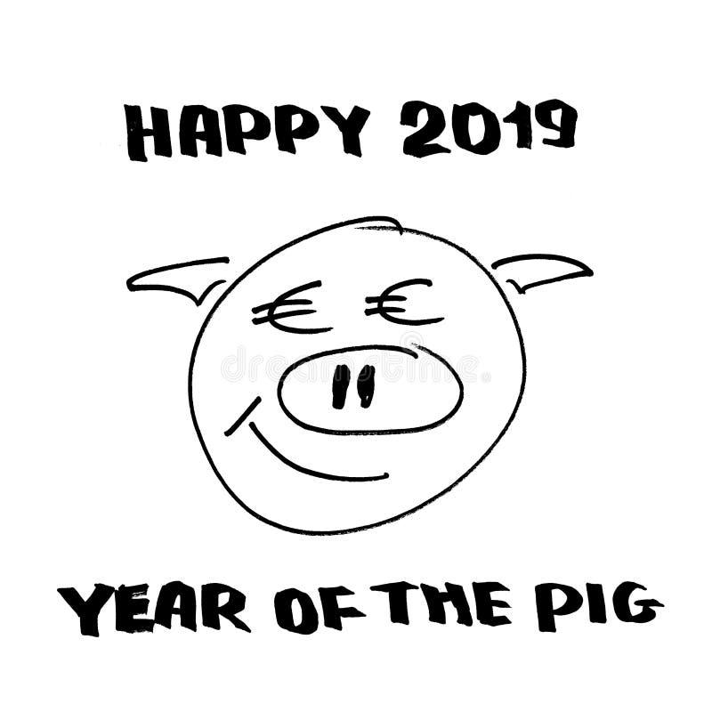 Szczęśliwi 2019 rok świnia ilustracji