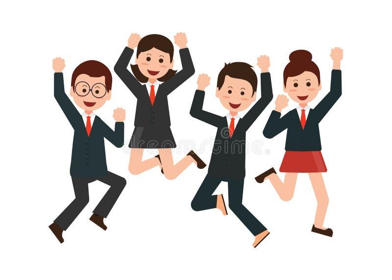 Szczęśliwi skokowi ludzie biznesu świętuje ich sukces royalty ilustracja