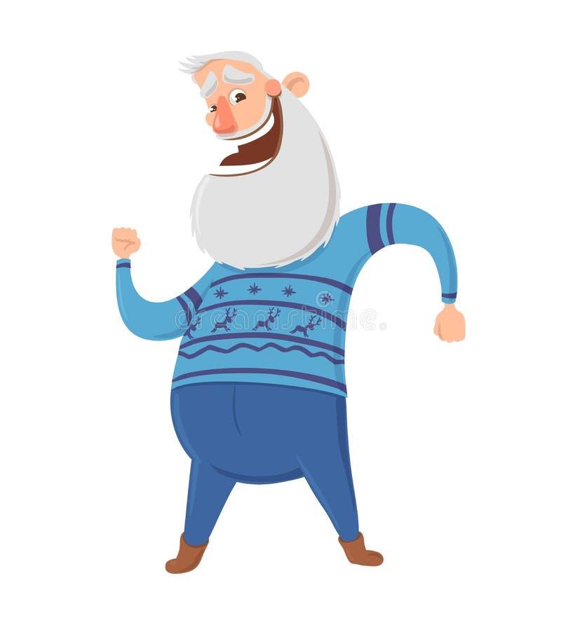 Szczęśliwi starsi ludzi tanczy ranek lub robi bawją się ćwiczenia Aktywne stylu życia i sporta aktywność w starości wektor royalty ilustracja