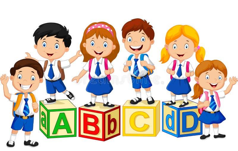 Szczęśliwi szkoła dzieciaki z abecadło blokiem ilustracja wektor