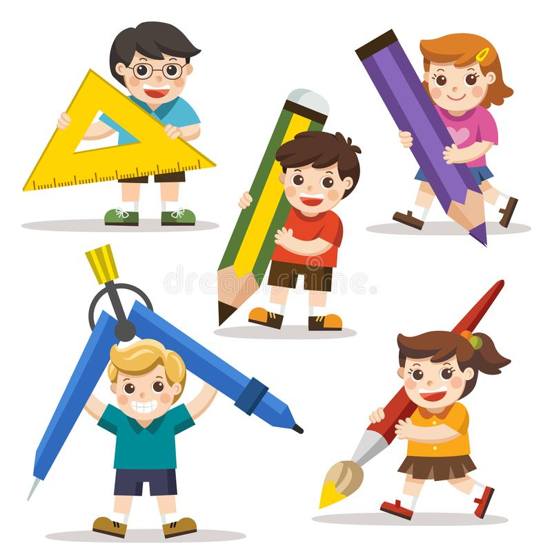 Szczęśliwi szkoła dzieciaki z elementami szkoła ilustracji