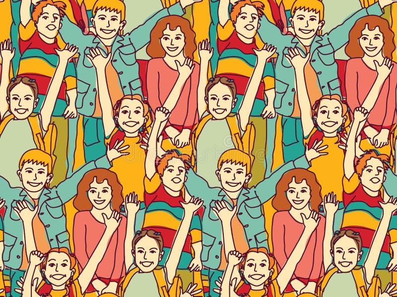 Szczęśliwi tłumów dzieci barwią bezszwowego wzór ilustracji