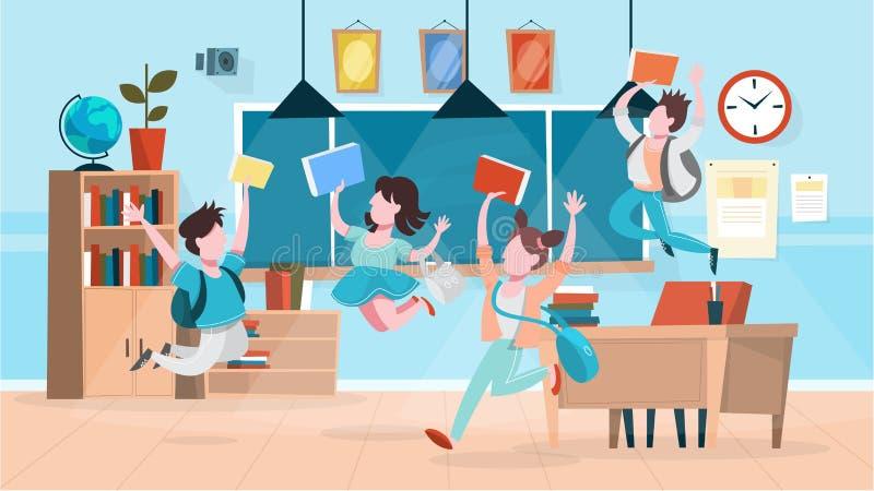 Szczęśliwi ucznie skaczą w sali lekcyjnej target4987_1_ rysuj?cy r?ka odizolowywaj?cy szko?y wektoru biel ilustracji