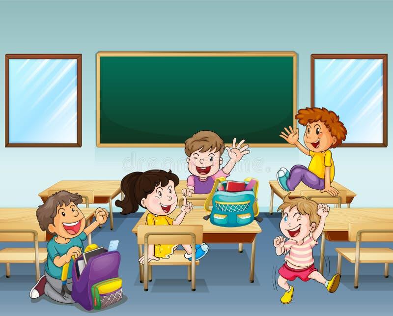 Szczęśliwi ucznie wśrodku sala lekcyjnej ilustracja wektor