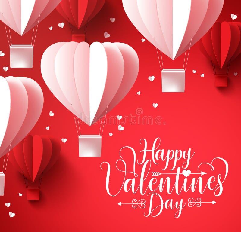 Szczęśliwi valentines dnia powitania z papierowym rżniętym kierowym kształtem szybko się zwiększać latanie ilustracji