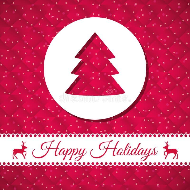 Szczęśliwi wakacje i wesoło kartka bożonarodzeniowa royalty ilustracja