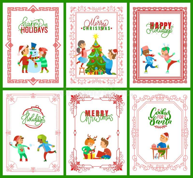 Szczęśliwi wakacje, Wesoło bożych narodzeń kartki z pozdrowieniami royalty ilustracja