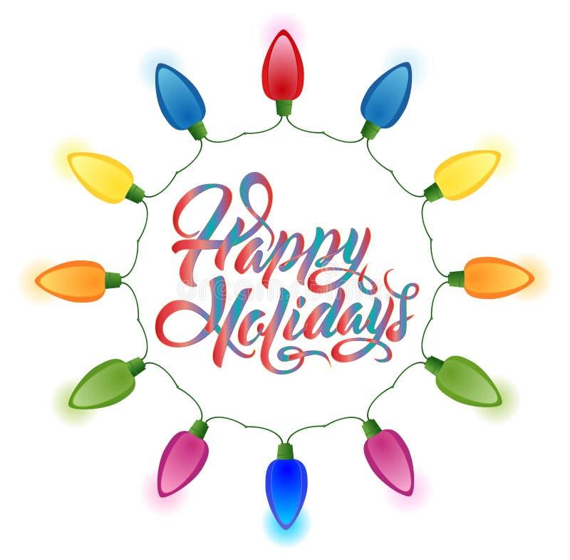Szczęśliwi wakacji bożonarodzeniowe światła ustawiający royalty ilustracja
