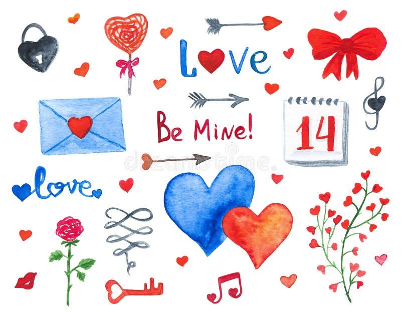 Szczęśliwi walentynka dnia akwareli doodles odizolowywający na białym backgr ilustracja wektor