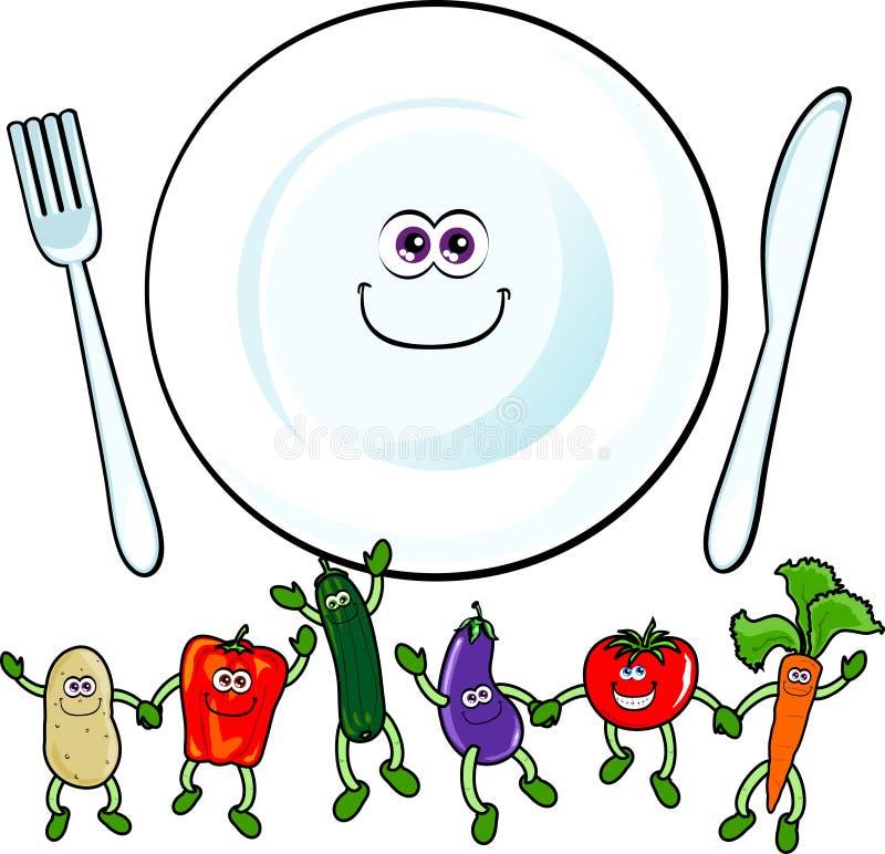 szczęśliwi warzywa ilustracja wektor