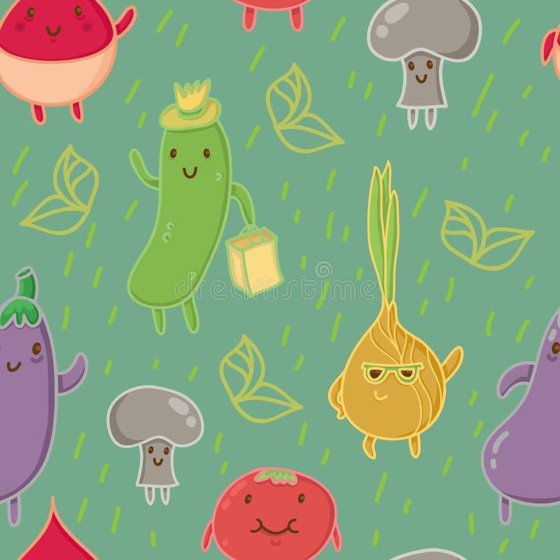 Szczęśliwi warzywa na trawy zieleni tle: szczęśliwy ogórek, elegancka cebula, mała pieczarka, dancingowy aubergine, smiley rzodki ilustracja wektor